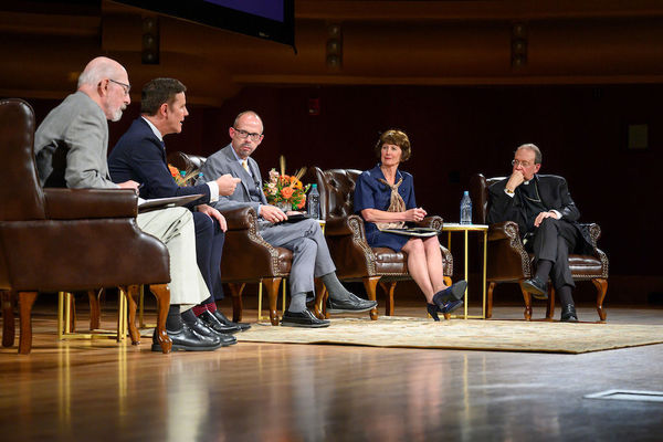 "The 2019-20 Notre Dame Forum: ""Rebuild My Church': Crisis and Response,"" with a discussion on ""The Church Crisis: where Are We Now?"". Photo by Barbara Johnston/University of Notre Dame."